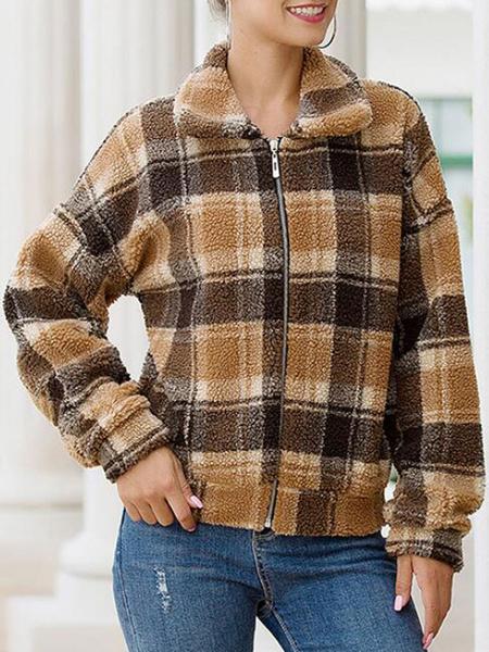 Milanoo Faux Fur Coats Long Sleeves Casual Plaid Color Block Light Brown Women Winter Coat