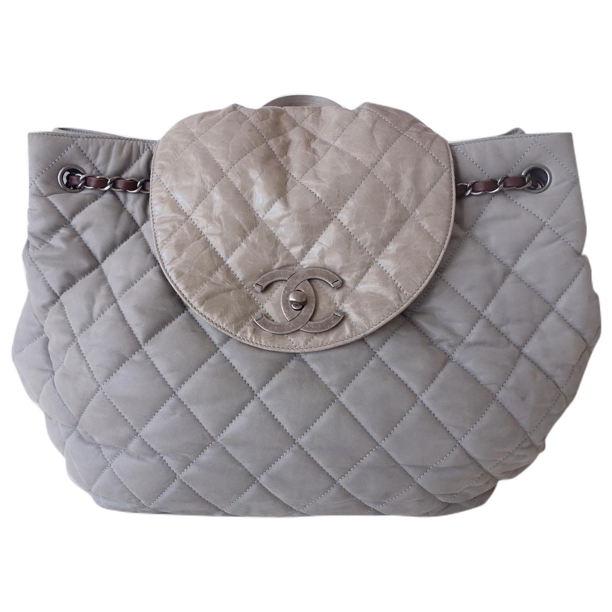 Chanel \N Rucksaecke in  Grau Leder