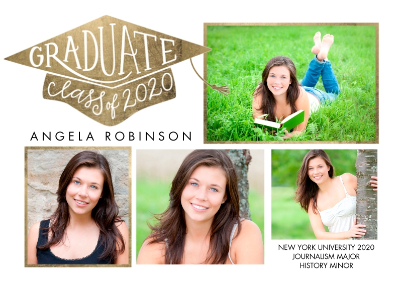 Graduation Announcements 5x7 Cards, Premium Cardstock 120lb, Card & Stationery -Class of 2020 Graduate Cap by Tumbalina
