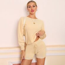 Solid Batwing Sleeve Sweater & Tie Waist Shorts Set