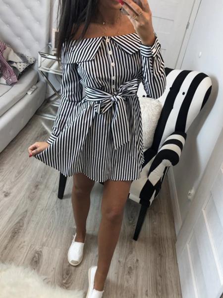 Yoins Belt Design Striped Off The Shoulder Long Sleeves Dress