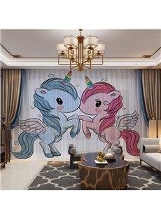 3D Cartoon Lovely Pair of Unicorns Printed Decorative 2 Panels Custom Sheer