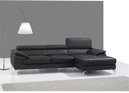 A973B Collection 1790612-RHFC Italian Leather Mini Right Facing Sectional Sofa with 3 Independent Ratchet Headrest in