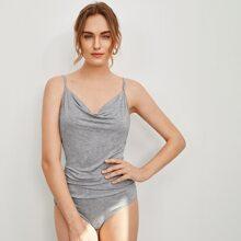 Draped Detail Solid Cami Bodysuit
