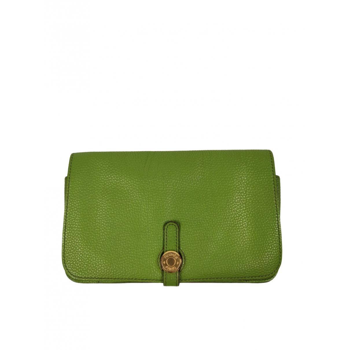 Hermes - Portefeuille Dogon pour femme en cuir - vert