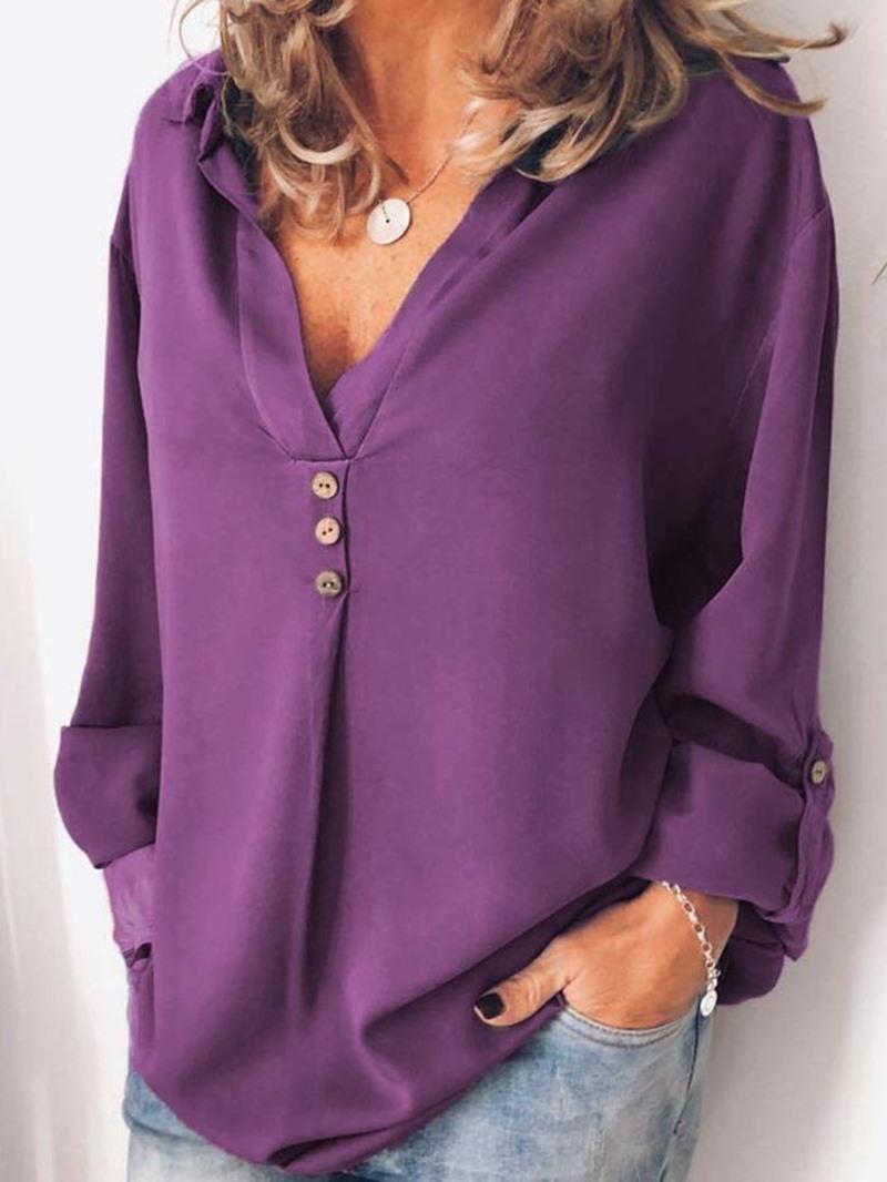 Ericdress Button Lapel Plain Long Sleeve Mid-Length Blouse