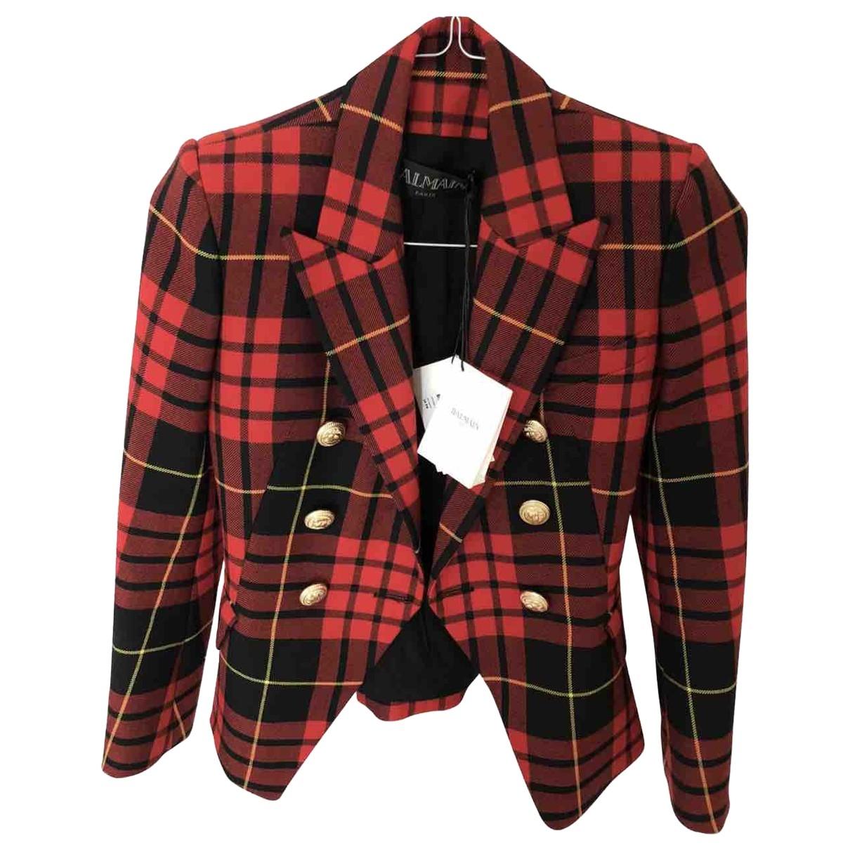 Balmain \N Jacke in  Rot Wolle