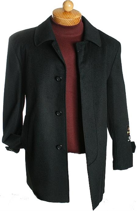 4 Button 3 Quarter Black Wool Jacket Mens Cheap
