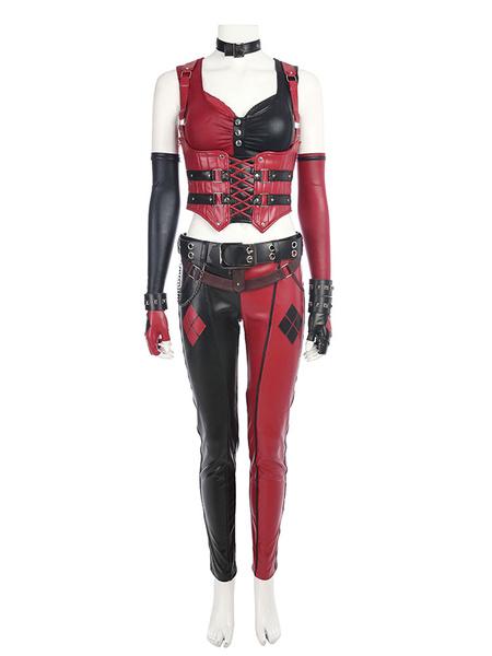 Milanoo Batman Arkham City Harley Quinn Halloween Cosplay Costume