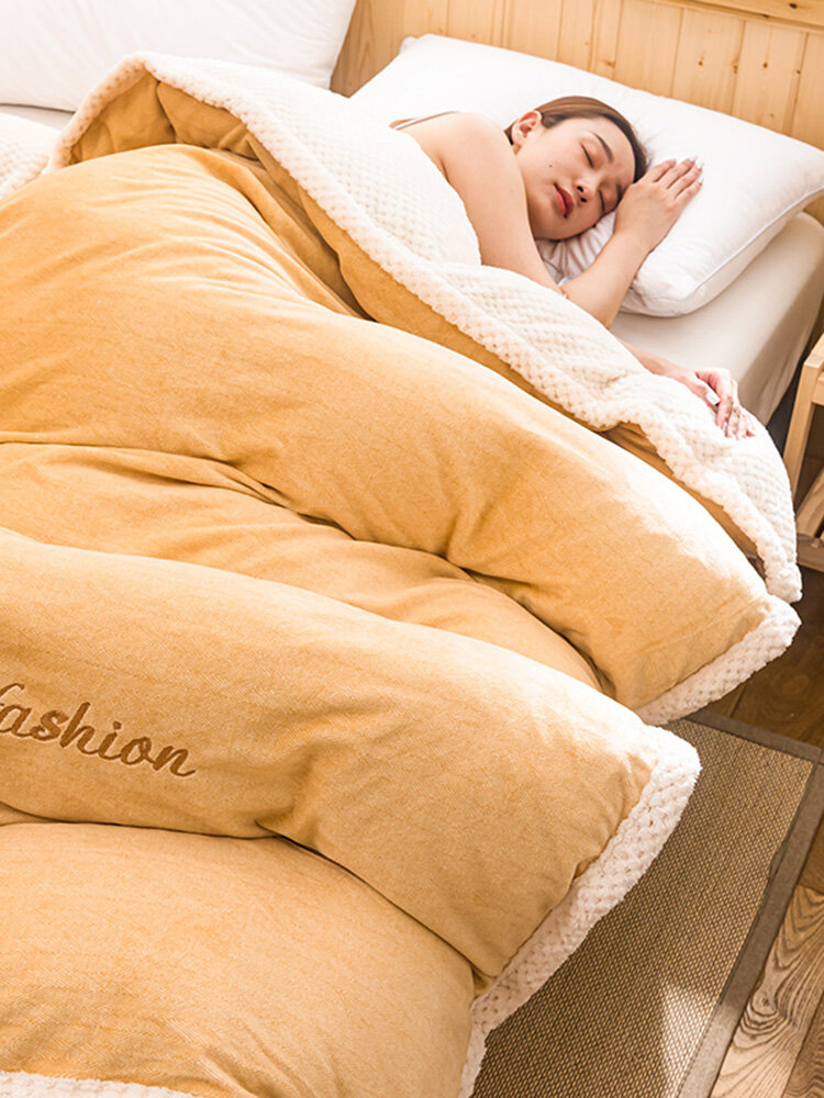 1Pc Flannel Double-Use Quilt Cover Double-Sided Winter Thick Warmth Sofa Bedroom Milk Fleece Blanket