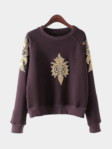 Yoins Dark-red Pullover Gold Color Embroidery Pattern Sweatshirt