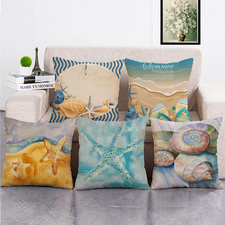 Marine Life Mediterranean Style Pillowcases Cotton Lnen Hug Cushion Cover Home Sofa Deco