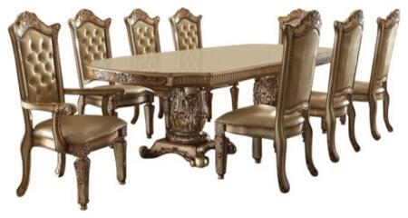Vendome Collection 630009TC 9 PC Dining Room Set with Dining Table + 6 Side Chairs + 2 Arm Chairs in Gold Patina