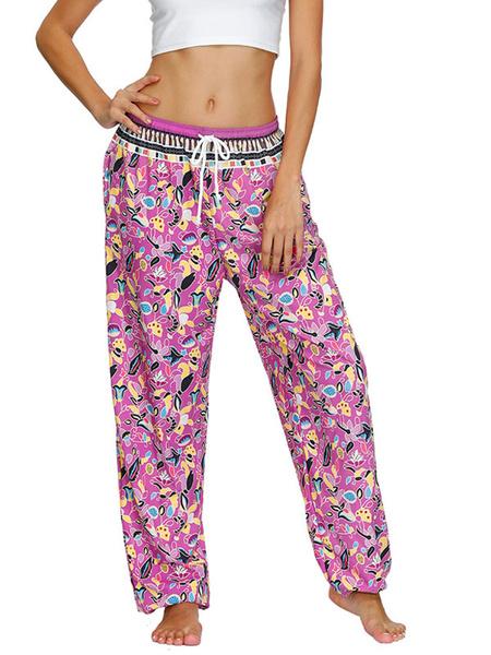 Milanoo Pantalones estampados de cintura alta rosa para mujer