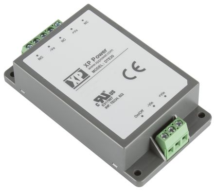 XP Power DTE20 20W Isolated DC-DC Converter Chassis Mount, Voltage in 18 → 75 V dc, Voltage out 12V dc