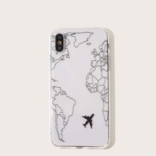 Map & Airplane Pattern iPhone Case