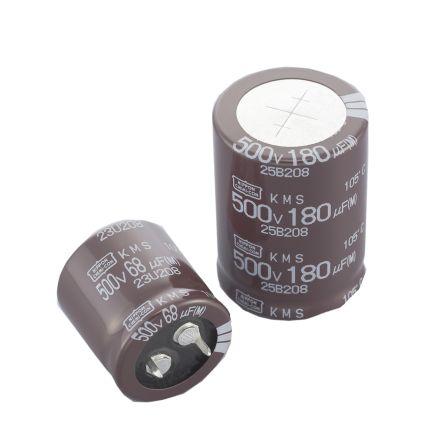 Nippon Chemi-Con 180μF Electrolytic Capacitor 500V dc, Through Hole - EKMS501VSN181MQ50S