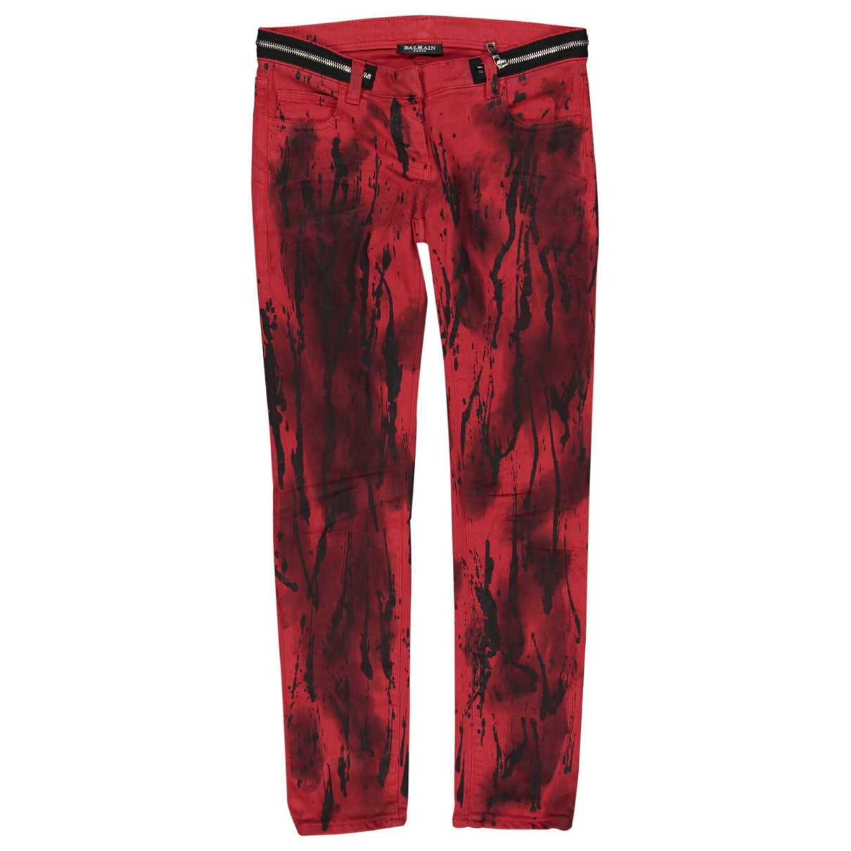 Balmain \N Red Cotton Jeans for Women 34 FR