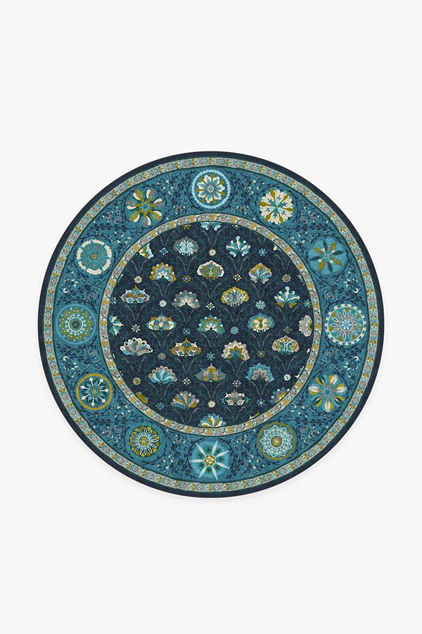 Washable Rug Cover | Latiff Midnight Blue Rug | Stain-Resistant | Ruggable | 6' Round