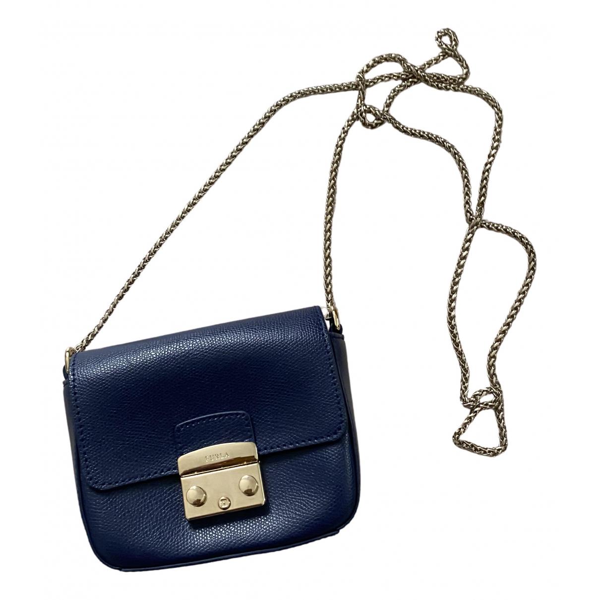 Furla Metropolis Blue Leather Clutch bag for Women \N