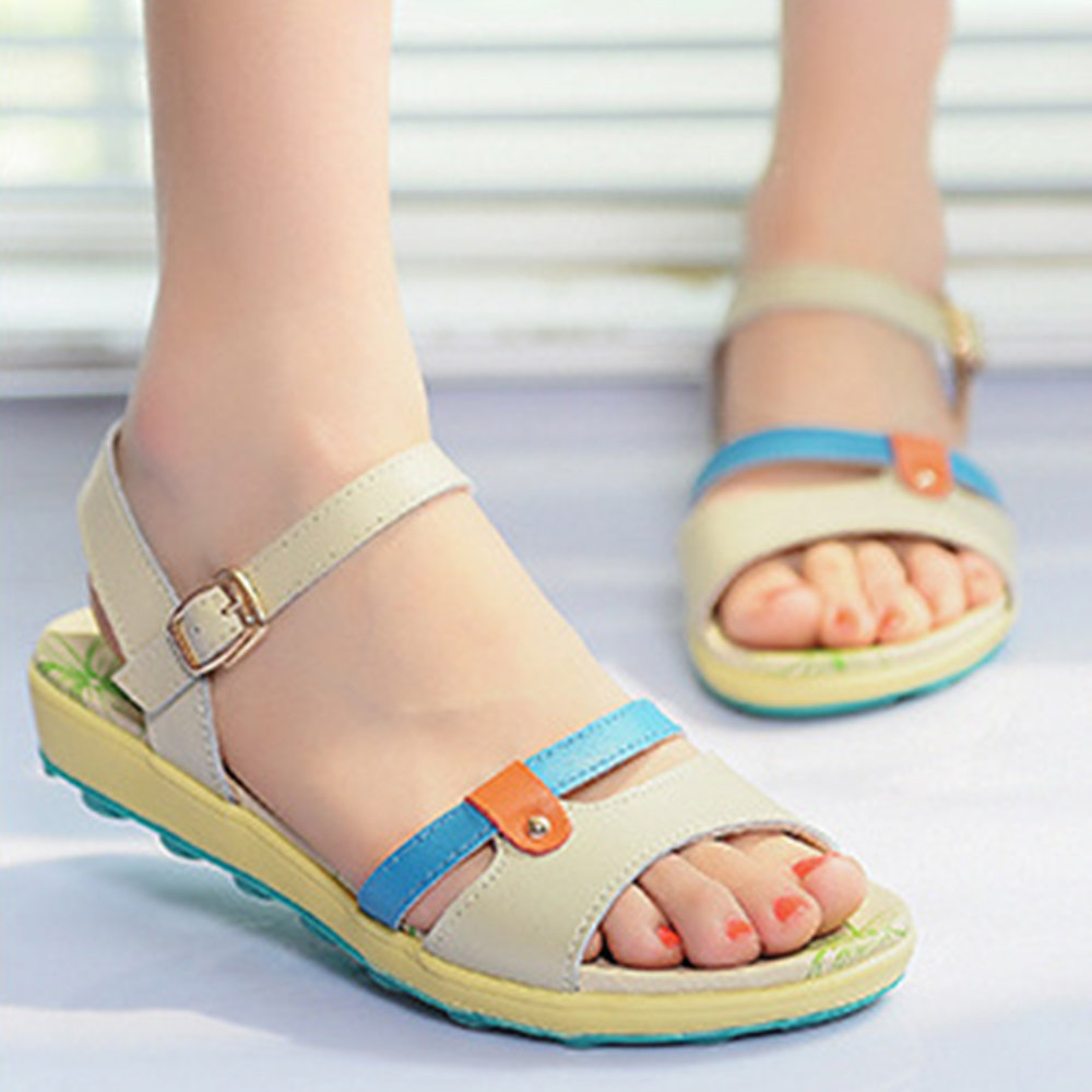 Women Opened Toe Splicing Color Buckle Casual Flat Sandals