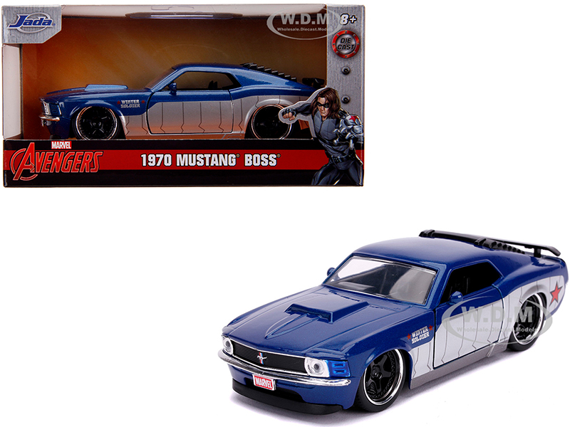 1970 Ford Mustang Boss Blue Metallic and Silver Winter Soldier Avengers Marvel Series 1/32 Diecast Model Car by Jada