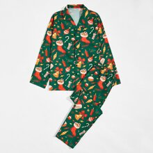 Men Christmas Print PJ Set