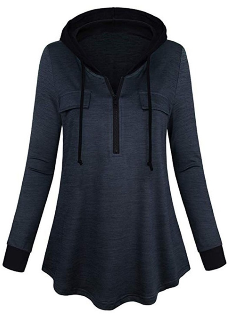 Ericdress Regular Color Block Long Sleeve Hooded Hoodie