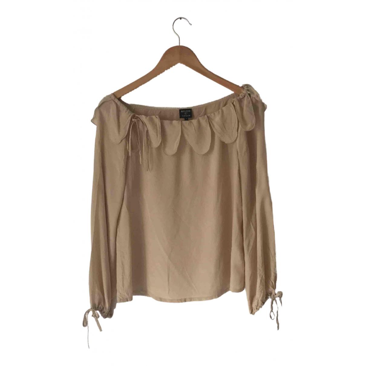 Topshop - Top   pour femme en soie - beige