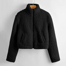 Zipper Front Slant Pocket Teddy Jacket