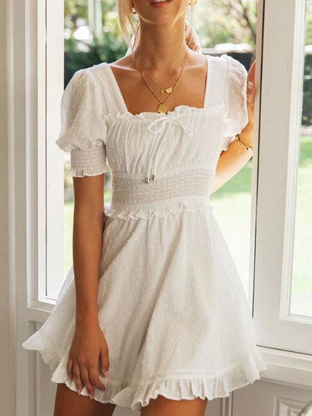 Milanoo White Skater Dress Woemn Square Neck Lace Up Short Summer Dress