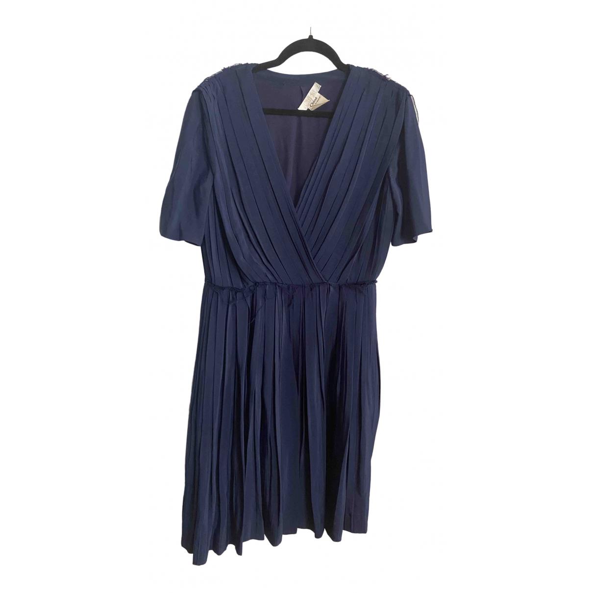 Chloe \N Kleid in  Blau Seide