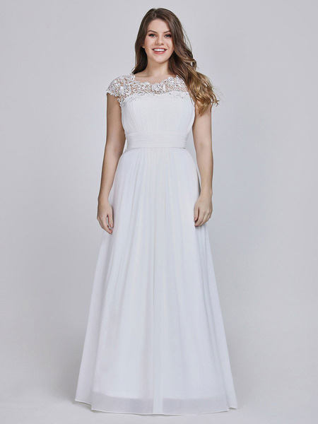 Milanoo Simple Wedding Dresses 2020 A Line Jewel Neck Lace Sleeveless Floor Length Lace Party Dresses