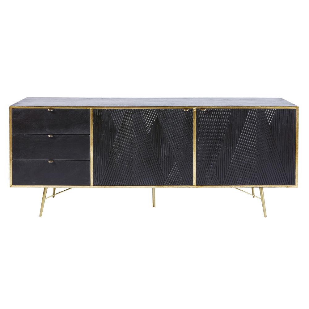 Sideboard mit 2 Tueren und 3 Schubladen, massives Mangoholz, schwarz Jagger