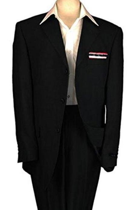 Mens Black 3 Buttons Perfect Fit Single Breasted Linen Suit