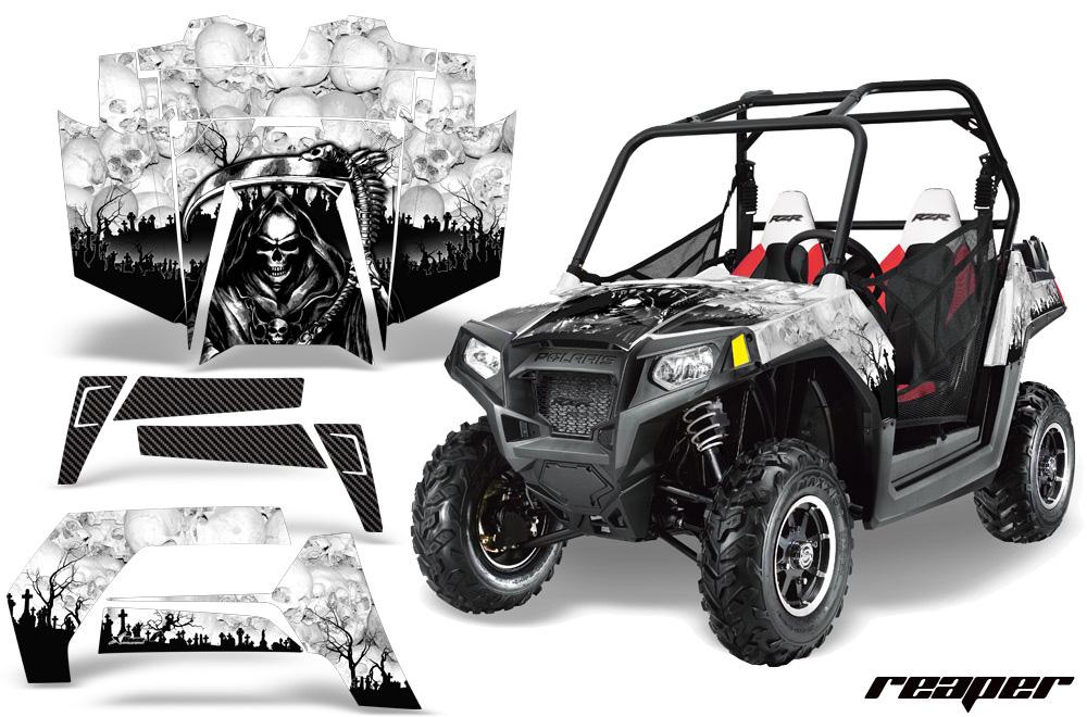 AMR Racing  Full Custom UTV Graphics Decal Kit Wrap Reaper White Polaris RZR 800 11-14