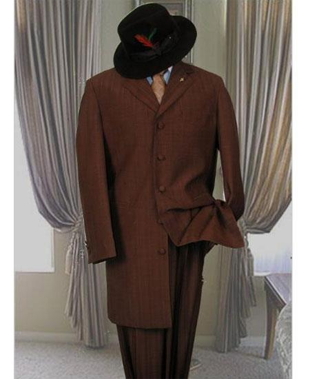 Men's Dark Brown Single Breasted 5 Button Long Zoot Suit