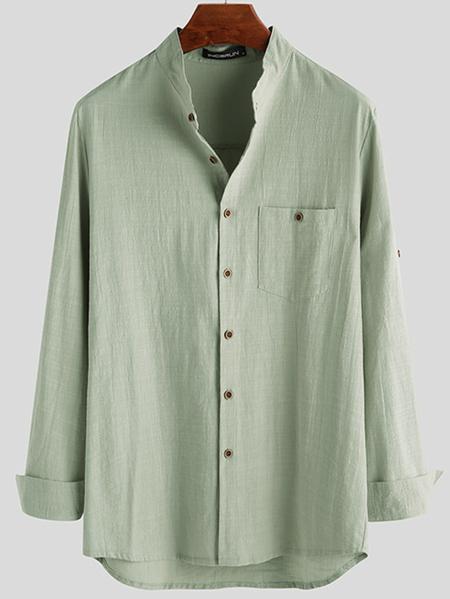 Yoins INCERUN Men Casual Loose Long Sleeve Button Down Shirt
