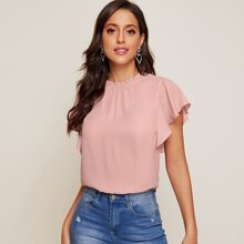 Frill Neck Butterfly Sleeve Top