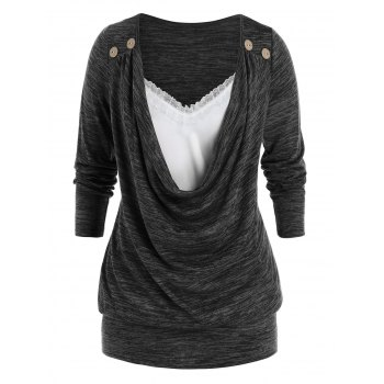 Plus Size Cowl Front Lace Panel Long Sleeve Tunic Tee