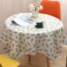Tischdecke mit Blatt Muster und Pom Pom Dekor