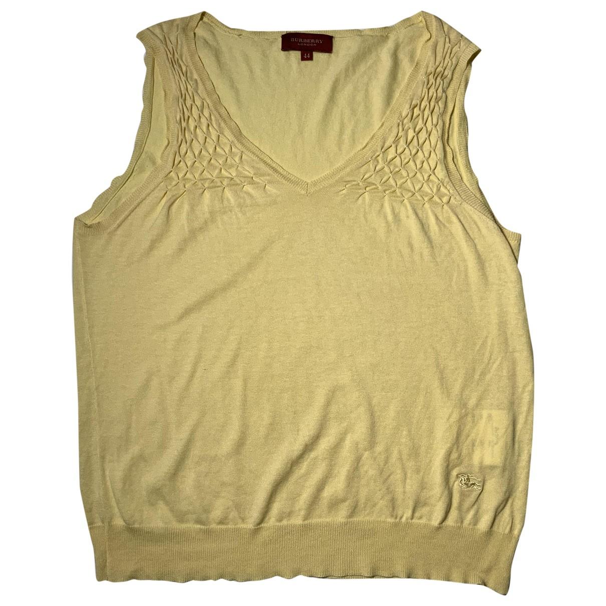 Burberry - Top   pour femme en soie - jaune