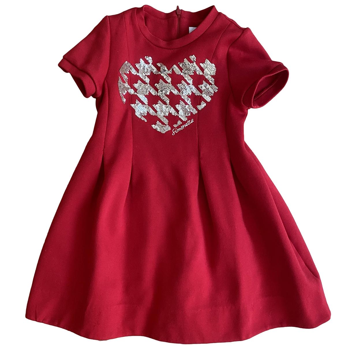 Simonetta - Robe    pour enfant en coton - rouge
