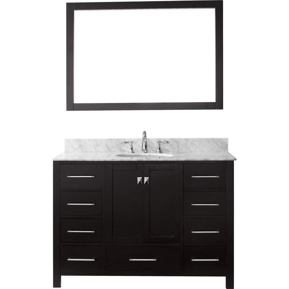 Virtu USA Caroline Avenue 48-in Single Sink Vanity w/ Top & Mirror (No Faucet/White - Freestanding - Rectangle)