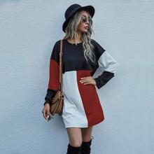 Colorblock Drop Shoulder Tee Dress