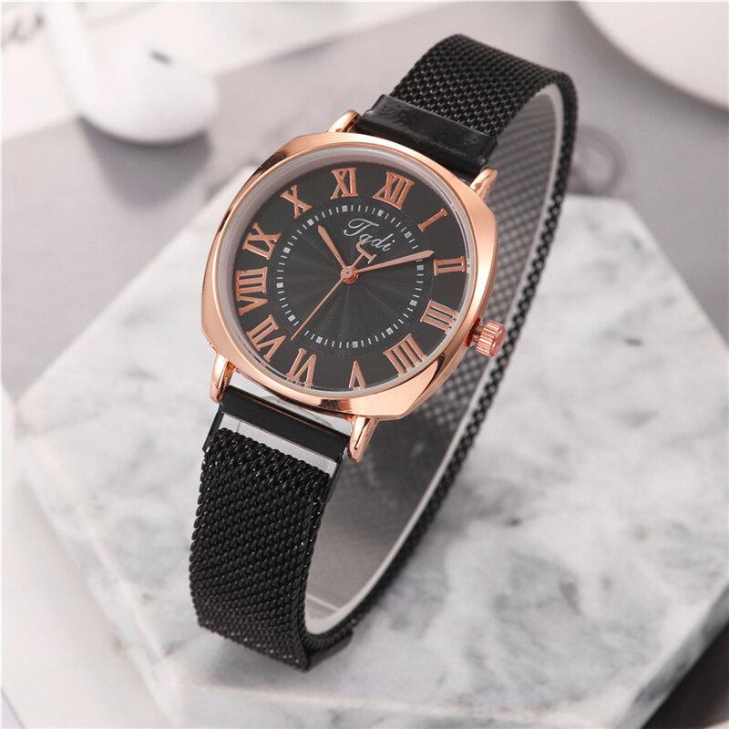 Business Sport Women Watch Full Alloy Band Roman Numerals Adjustable Clasp Quartz Watch