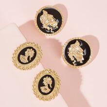 Coin Stud Earrings 2pairs