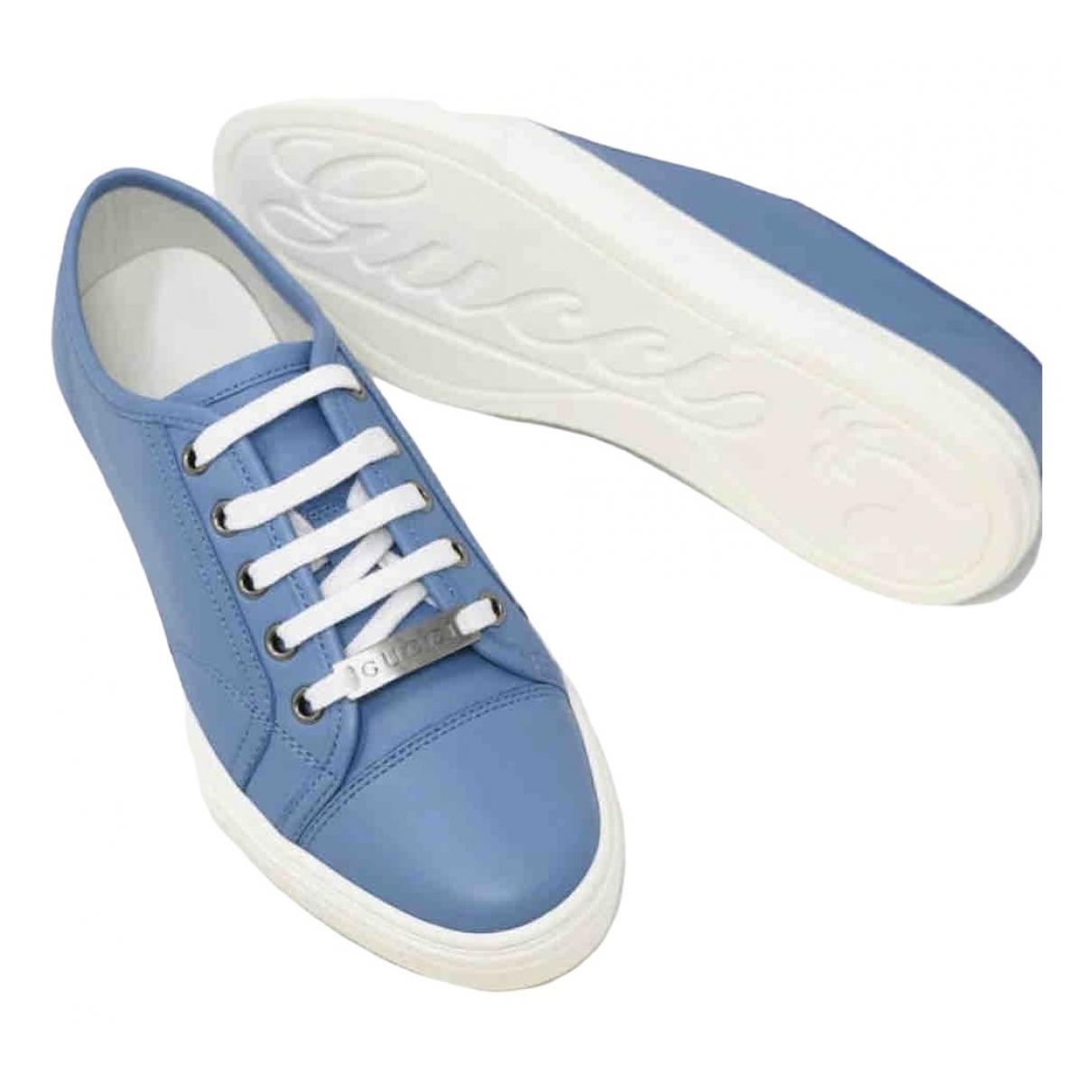 Gucci - Baskets   pour femme en fourrure - bleu