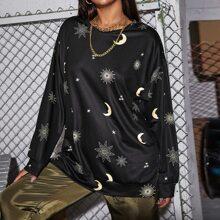 Langes Sweatshirt mit Galaxie Muster