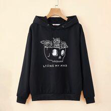 Slogan Skull & Floral Graphic Hoodie